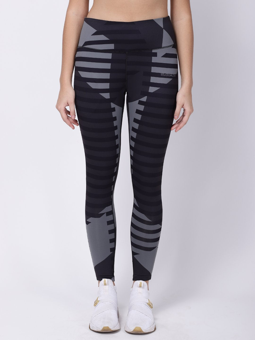 Grey Black Print Power Fashion Leggings