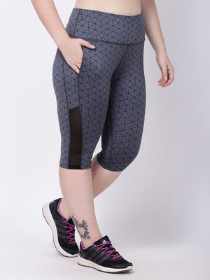 Grey Molecular Print Black Mesh Light Breeze Capri
