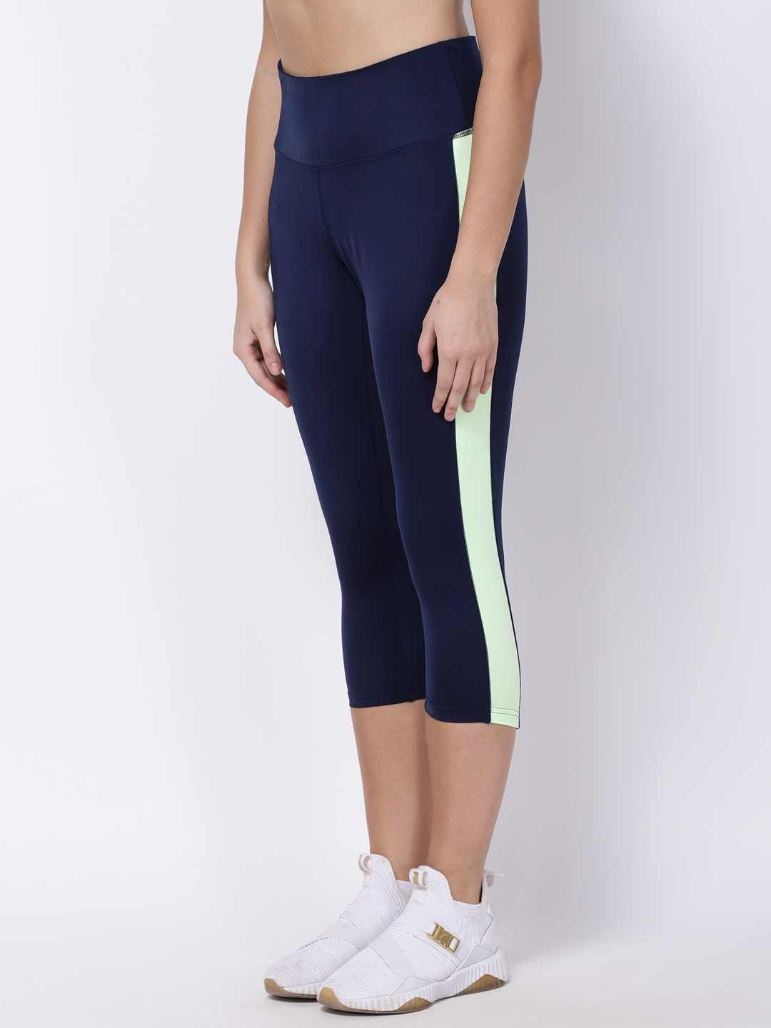 Navy Lime-Green Summer Breeze Capri