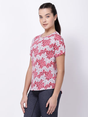 Pink-Red Printed Ace Tee