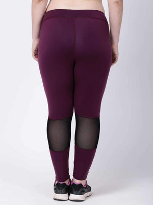 Wine Black Mesh Tres Chic Leggings