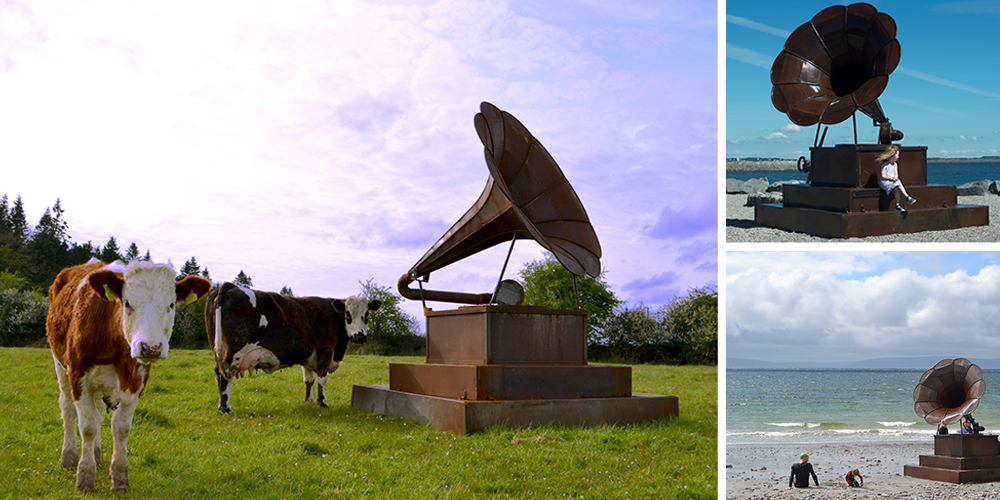 Gramophone - in a field with cows and on a beach