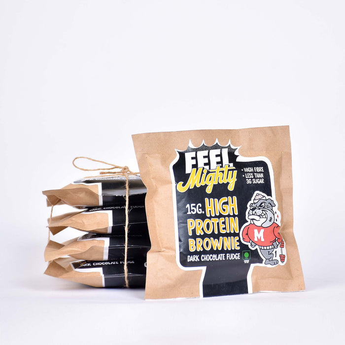15G High Protein Brownie | Dark Chocolate Fudge (Box of 5)| Feel Mighty - Feel Mighty