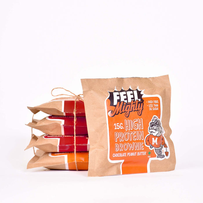 High Protein Assorted Box 4 |Chocolate Walnut and Peanut Butter (Box of 5)| Feel Mighty - Feel Mighty