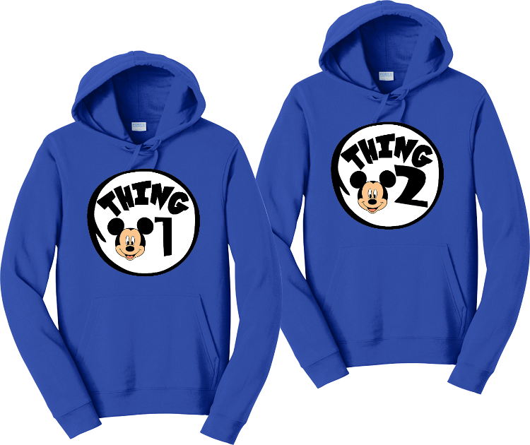 Thing 1 Thing 2 Mickey Face Matching Hoodie Sweatshirts