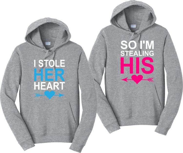 I Stole Her Heart So I'm Stealing His Hoodies Couples Matching Sweatshirts
