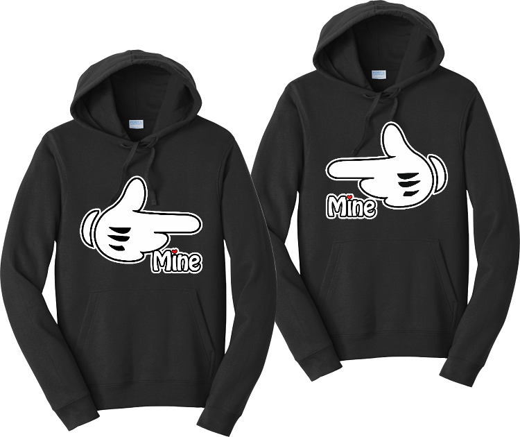 Mine Mickey Hands Couples Hoodies Matching Sweatshirts