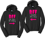 BFF She Thinks I'm Crazy BFF I Know She's Crazy Matching Hooded Sweatshirts