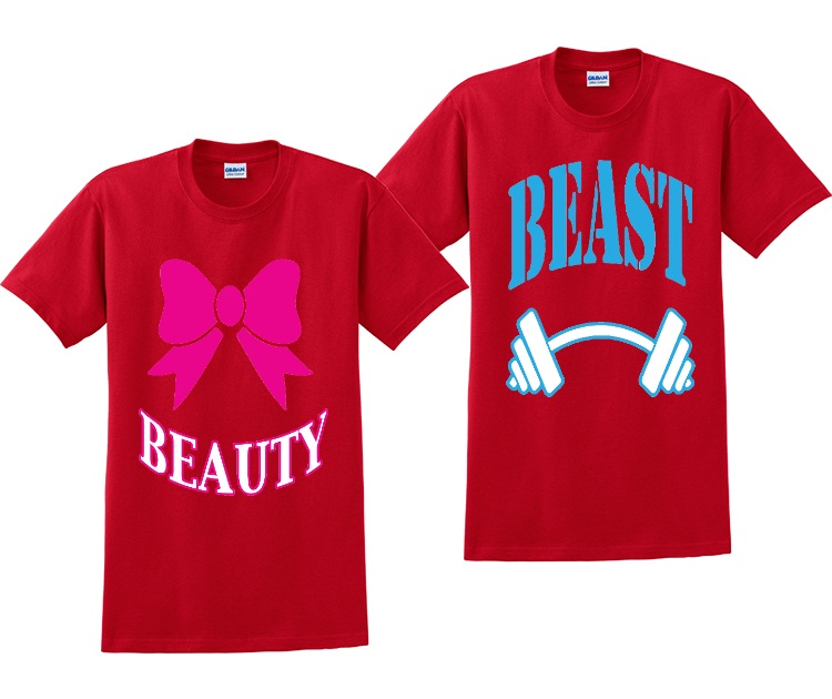 Beauty And Beast Couples Matching T-Shirts