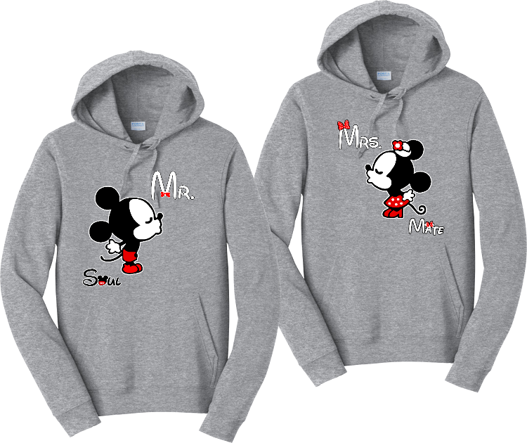 Mickey And Minnie Kissing Couples Hoodies Matching Sweatshirts