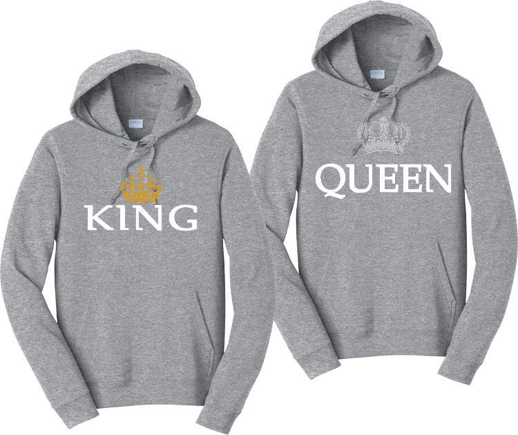 King and Queen Couples Matching Hooded Sweatshirts