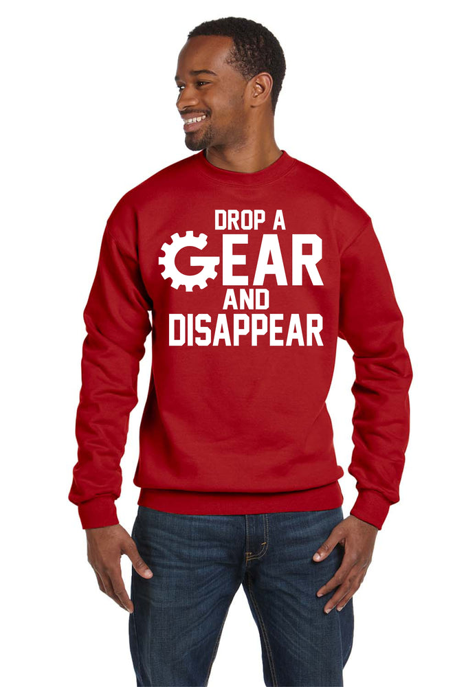 Drop A Gear and Disappear Crew Neck Race Cars Automotive Turbo Sweatshirt
