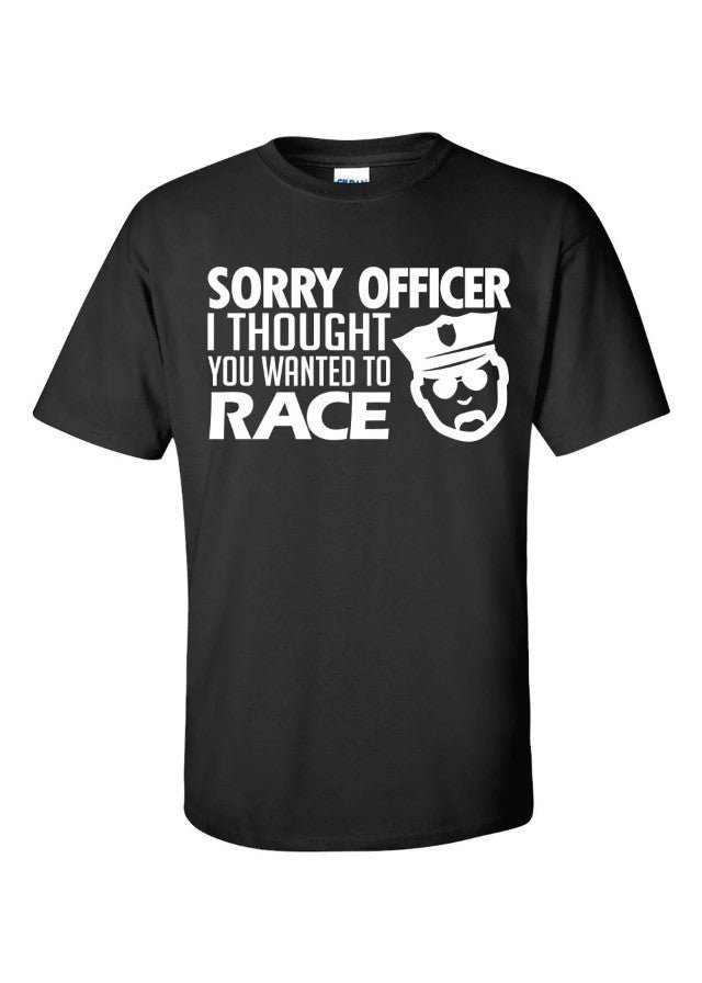 Sorry Officer T-Shirt Tuner JDM Sti Turbo Import Custom Police Cars Shirts