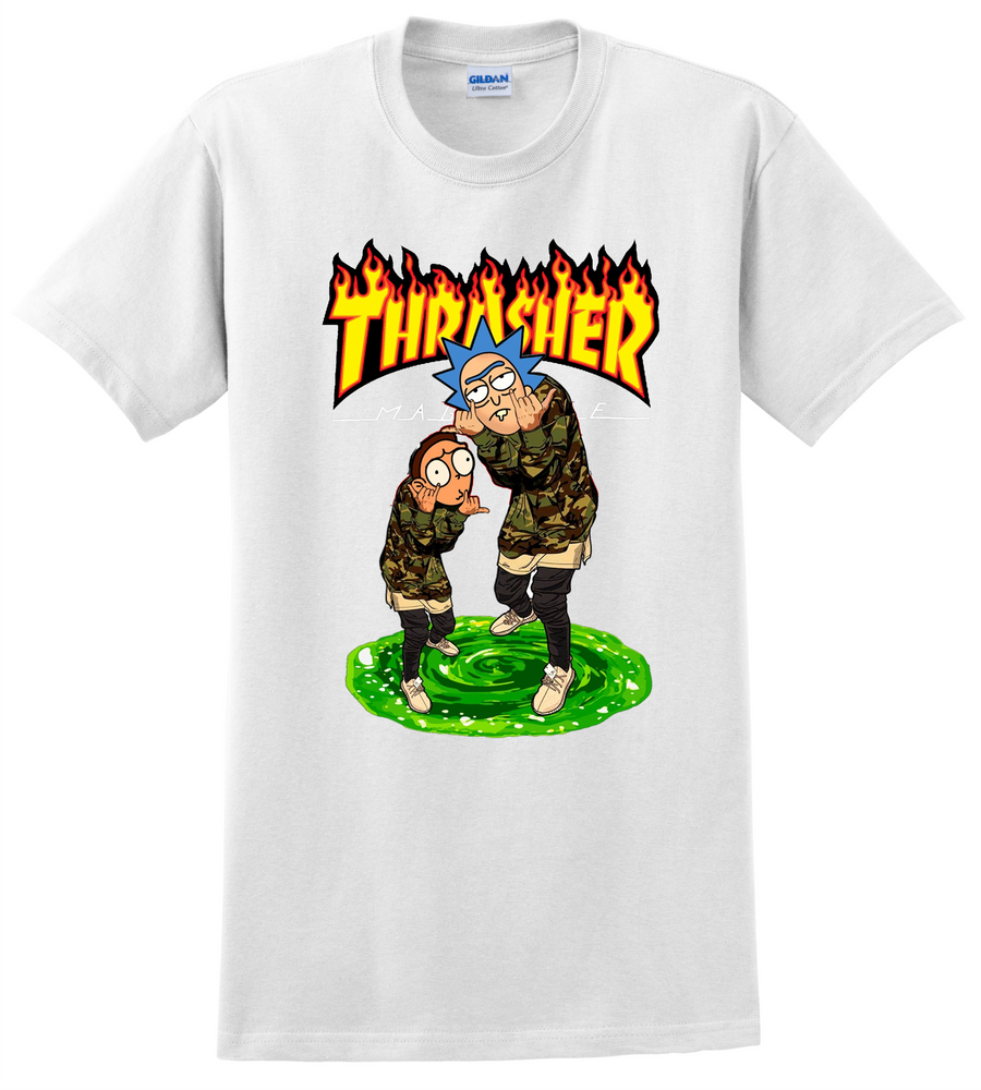 Rick and Morty T Shirt Thrasher Cartoon Network TV Show Tee Shirts