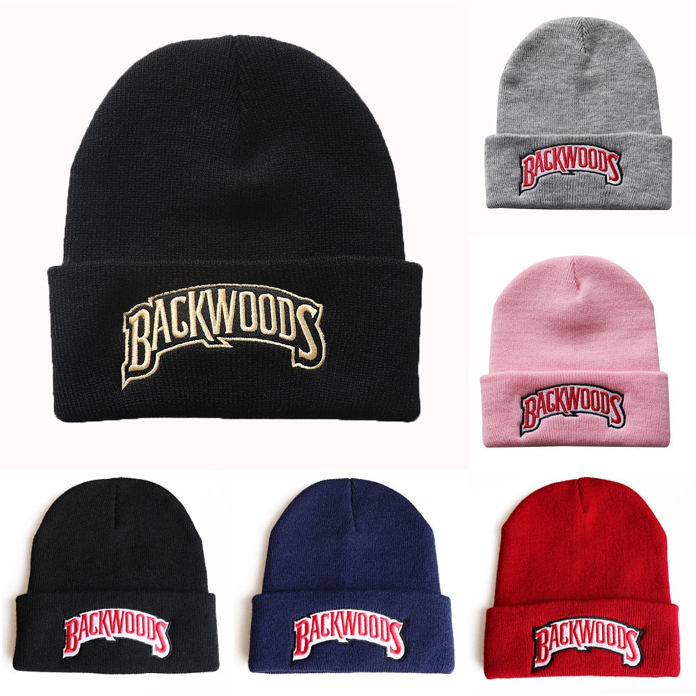 New Knitted Hat Beanies Backwoods Lettering Cap Women Winter Hats for Men Warm Hat Fashion Solid Hip-hop Beanie Hat Unisex Caps