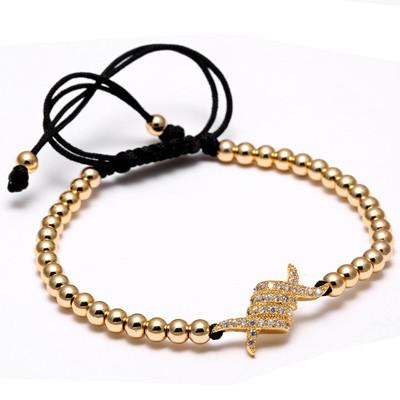Luxury Gold Pave 4mm Round Titanium Steel Beads - OlympBoss Bracelet