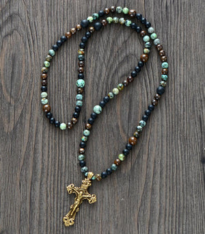Handmade Jasper Cross Necklace - OlympBoss Necklace