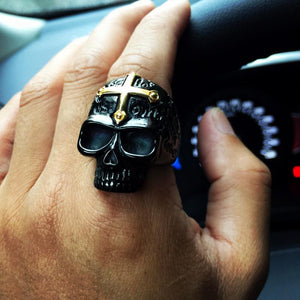 Skull Cross Ring 316L Titanium Steel - OlympBoss Rings