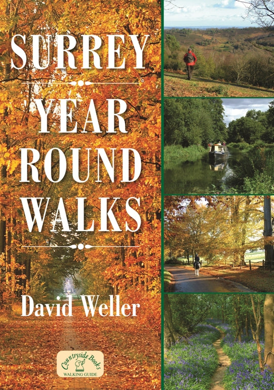 Surrey Year Round Walks book cover. Autumn, Winter, Spring and Summer walks.