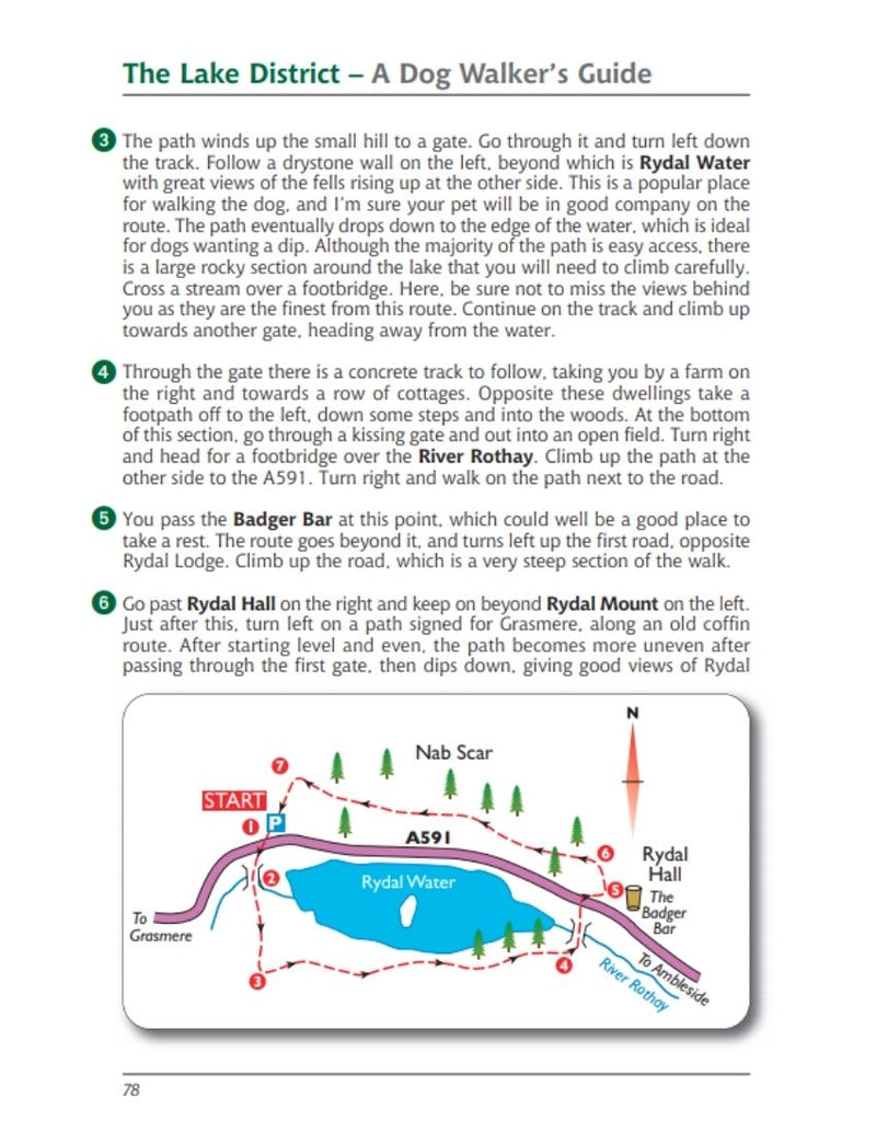 Lake District A Dog Walker's Guide Rydal Water walk map