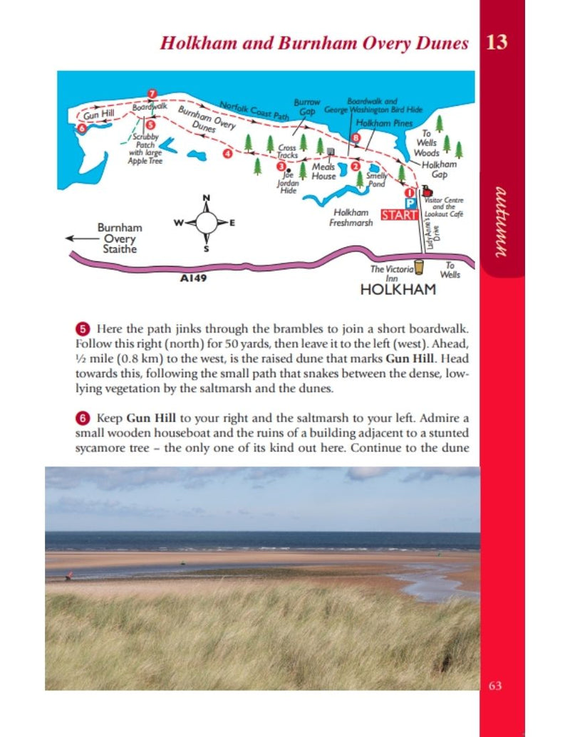 Norfolk Year Round Walks Holkham & Burnham Overy Dunes autumn walk map