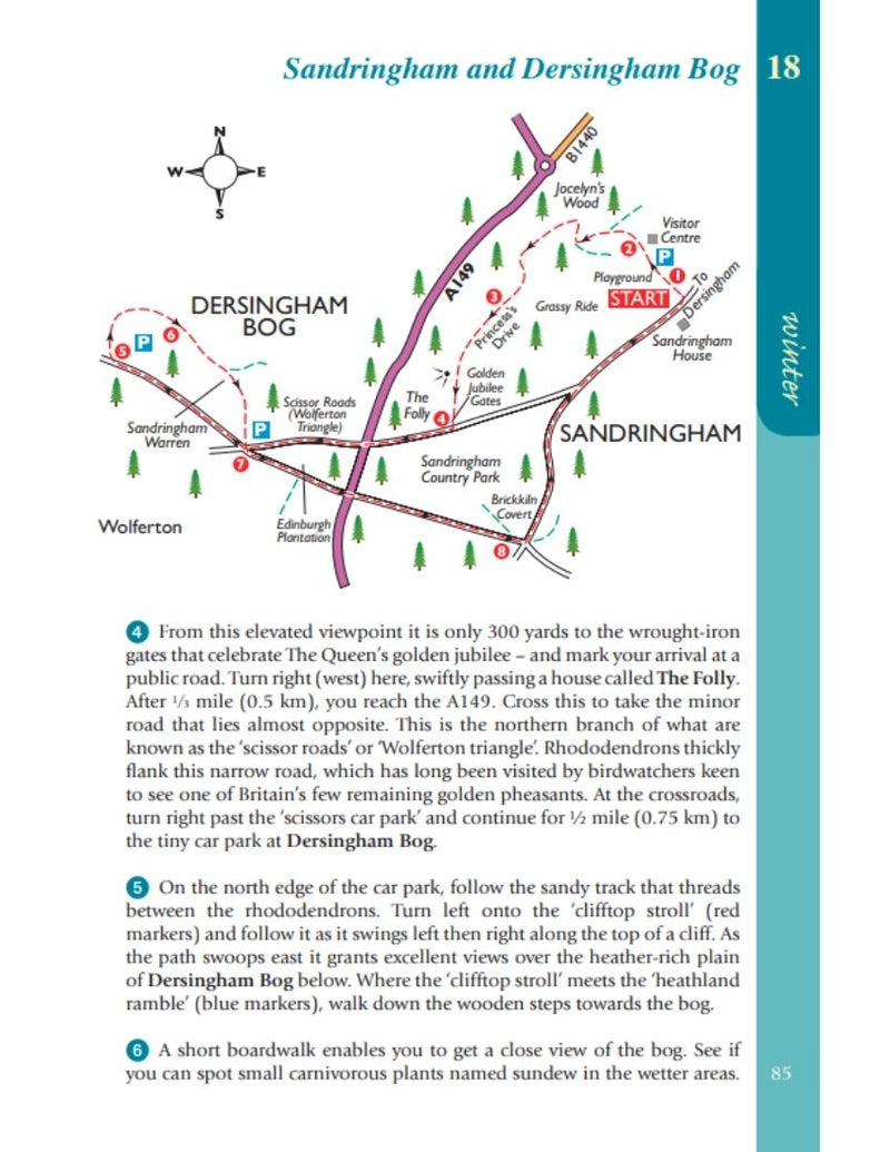Norfolk Year Round Walks Sandringham & Dersingham Bog winter walk map
