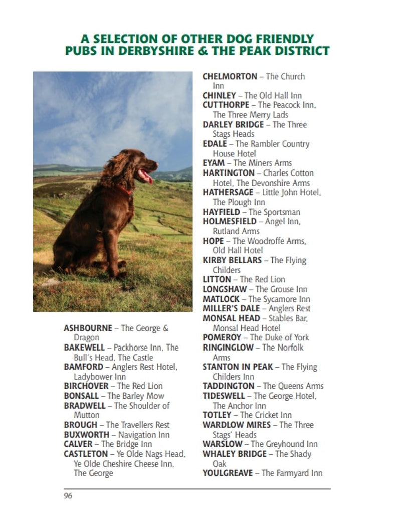 Derbyshire & the Peak District Dog Friendly Pub Walks local dog-friendly pubs
