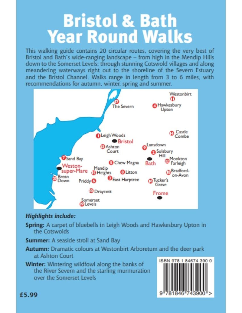 Bristol & Bath Year Round Walks book contents back cover