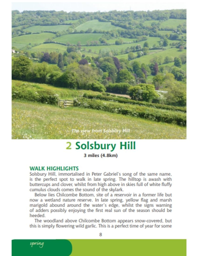 Bristol & Bath Year Round Walks book interior content spring walk Salsbury Hill