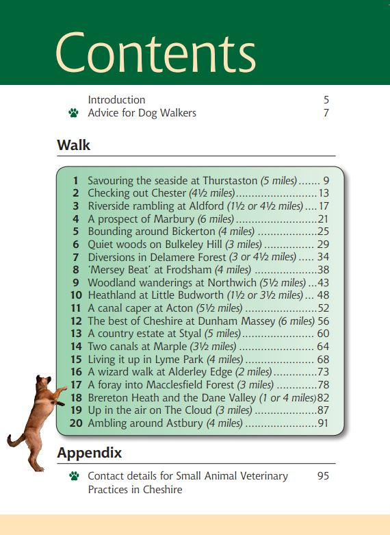 Cheshire A Dog Walker's Guide contents page
