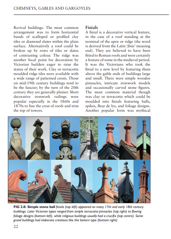Chimneys Gables & Gargolyes finials