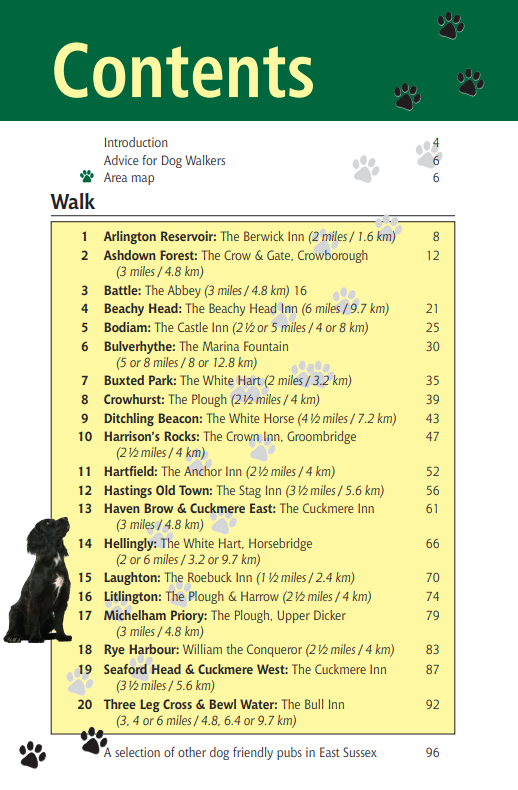 East Sussex Dog Friendly Pub Walks contents page list of walks