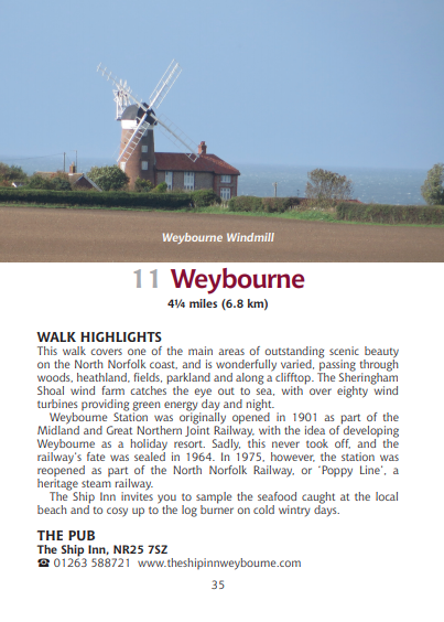 Guide to Norfolk Pub Walk Weybourne Windmill coast walk