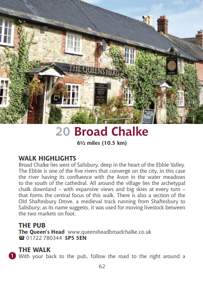 Guide to Wiltshire Pub Walks Broad Chalke The Queens Head