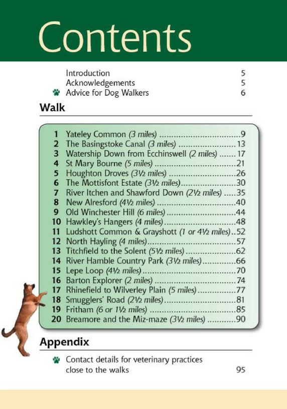 Hampshire & the New Forest A Dog Walker's Guide book contents