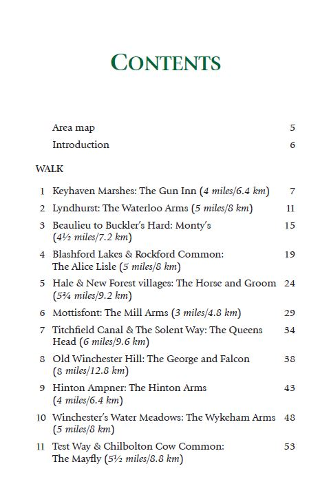 Hampshire & the New Forest Pub Walks book contents page 1