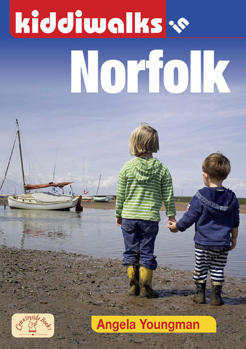 Kiddiwalks in Norfolk book cover. 20 family walks.