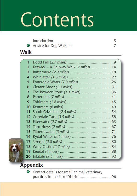 Lake District A Dog Walker's Guide book contents