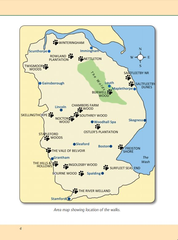 Lincolnshire A Dog Walker's Guide area map. Local dog walks