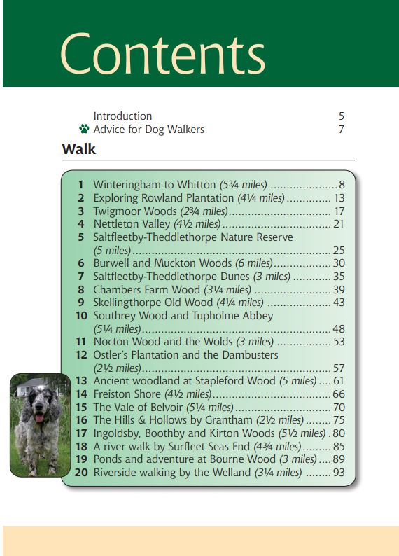 Lincolnshire A Dog Walker's Guide contents page.