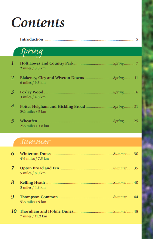 Norfolk Year Round Walks book contents spring summer