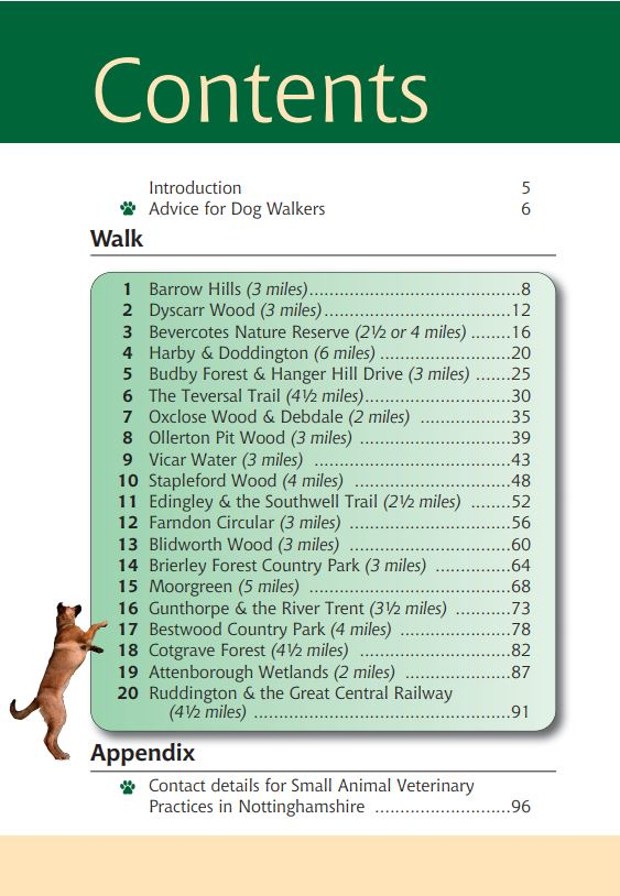 Nottinghamshire A Dog Walker's Guide contents list.