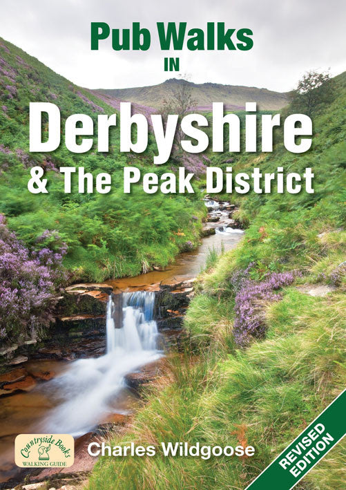 Pub Walks in Derbyshire and the Peak District book cover. Walking guide to the best walks in the Derbyshire countryside.