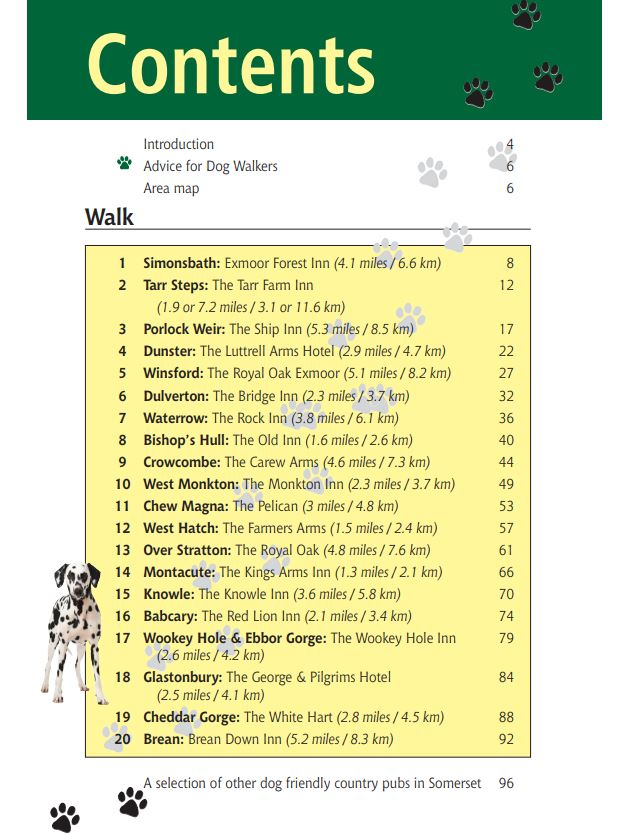 Somerset Dog Friendly Pub Walks book contents page
