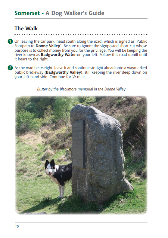 Somerset A Dog Walker's Guide Doone Valley walk instructions