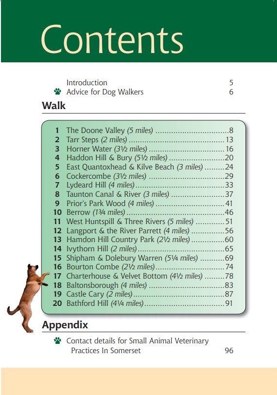 Somerset A Dog Walker's Guide contents list. Best local dog walks.