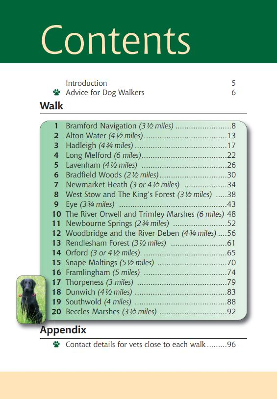 Suffolk A Dog Walker's Guide contents list. Best local dog walks.