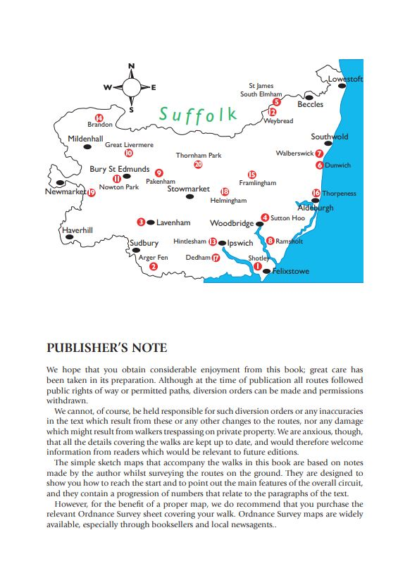 Suffolk Year Round Walks area map. Walking guide.