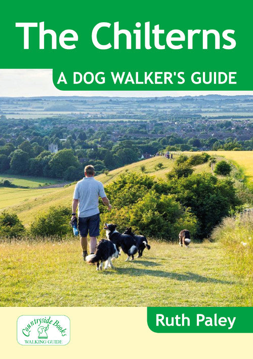 The Chilterns A Dog Walker's Guide book cover. 20 circular walks in the Chilterns countryside designed with dog walking in mind. Each dog walk has max. off lead time and includes dog-friendly pubs and cafes.