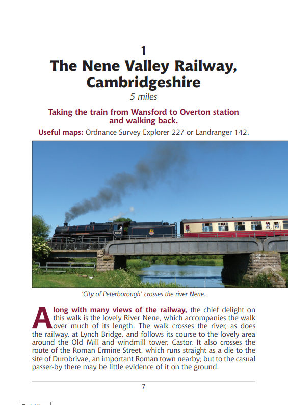 Walks Following Steam Railways in the Southern Counties of England. Heritage Railway Steam Trains walking routes Nene Valley
